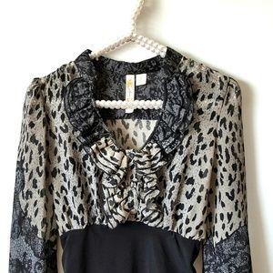 ADIVA Sheer Animal & Floral Print Blouse Top (S)